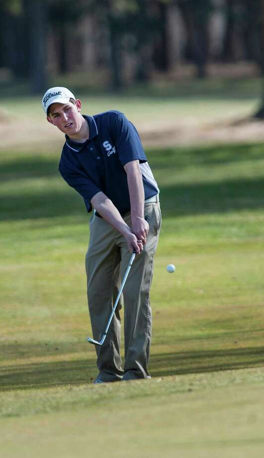 Staples High School's golfer Andrew Felman chips onto the green during a boys golf match against Fairfield Ludlowe High School held at the H. Smith Richardson Golf Course in Fairfield, CT on Monday April 8th, 2013. Photo: Mark Conrad / Connecticut Post Freelance