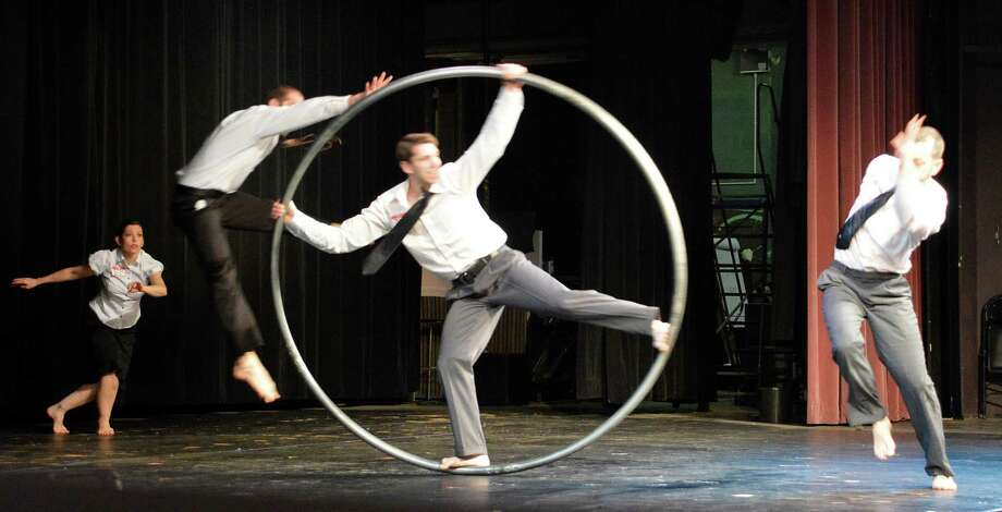 "A hoop was a prop used by PUSH Physical Theatre in performances Wednesday at Staples High School, underscoring the importance of being ""an ally"" to people in students' lives. Photo: Jarret Liotta / Westport News"