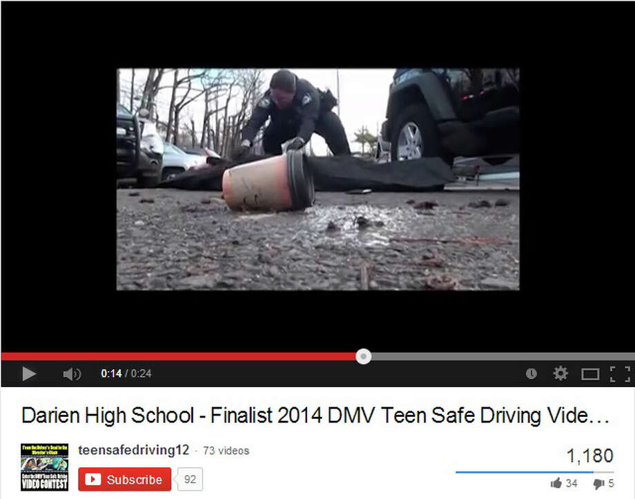 The video the Darien chapter of Students Against Distracted Driving shows the fictional death of a young driver who was texting. Photo: Contributed Photo, Contributed / Darien News Contributed