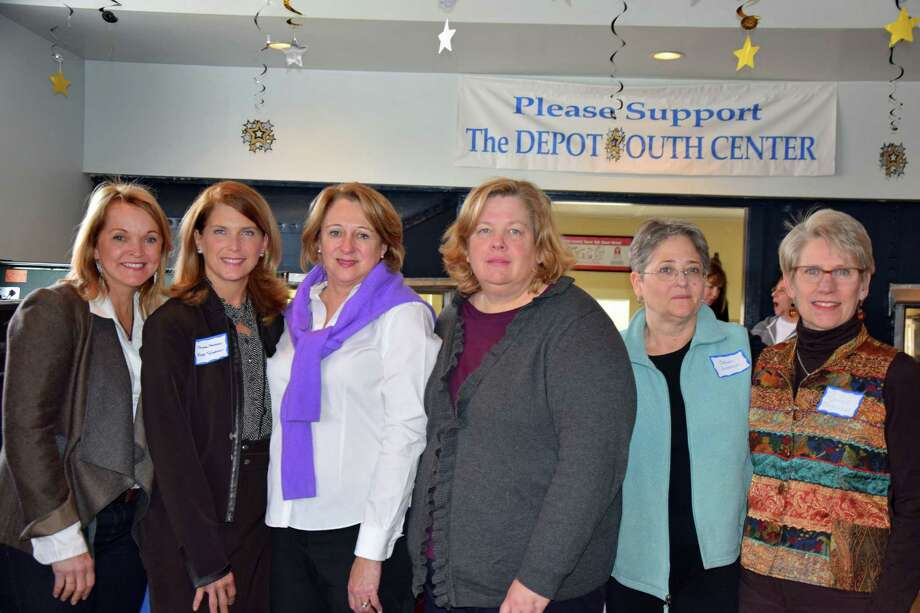 From left, RTM Moderator Sarah Seelye; First Selectman Jayme Stevenson; Board of Finance Chairman Liz Mao; Board of Education Chairman Betsy Hagerty-Ross; Planning and Zoning Commission Chairman Susan Cameron; and Board of Finance member and League of Women Voters Chairman Gwen Mogenson at the league's Officials Lunch. Photo: Contributed Photo, Contributed / Darien News Contributed