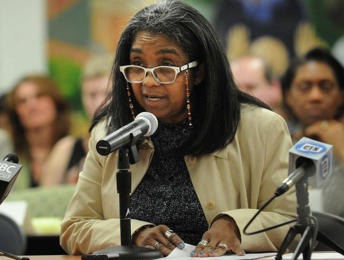 Bridgeport Board of Education Chair Sauda Baraka speaks against any new charter schools in front of the State Board of Edcation in Hartford, Conn. on Wednesday, April 2, 2014.