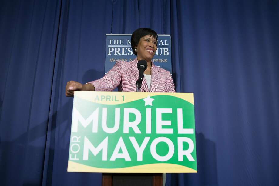 Councilwoman Muriel Bowser discusses her primary election victory at the National Press Club. Photo: Evan Vucci, Associated Press