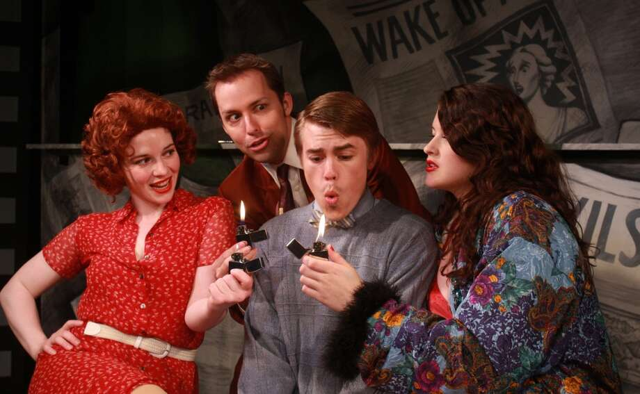 "(For the Chronicle/Gary Fountain, April 9, 2010) Beth Lazarou as Sally, from left, John Dunn as Jack, Corey Hartzog as Jimmy, and Jessica Janes as Mae, in this scene from ""Reefer Madness, the Musical,"" a campy off-Broadway musical version of the 1930s low-budget cult movie warning of the dangers of marijuana. Photo: Gary Fountain, For The Chronicle"
