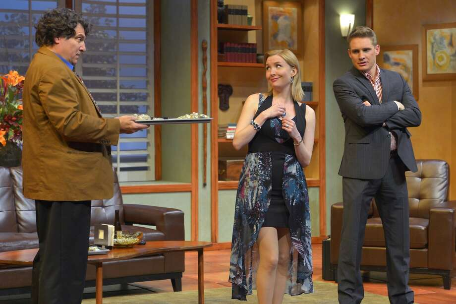 "Marco Barricelli (left), Nisi Sturgis and Craig Marker in ""Game On"" at San Jose Repertory Theatre. Photo: Kevin Berne"