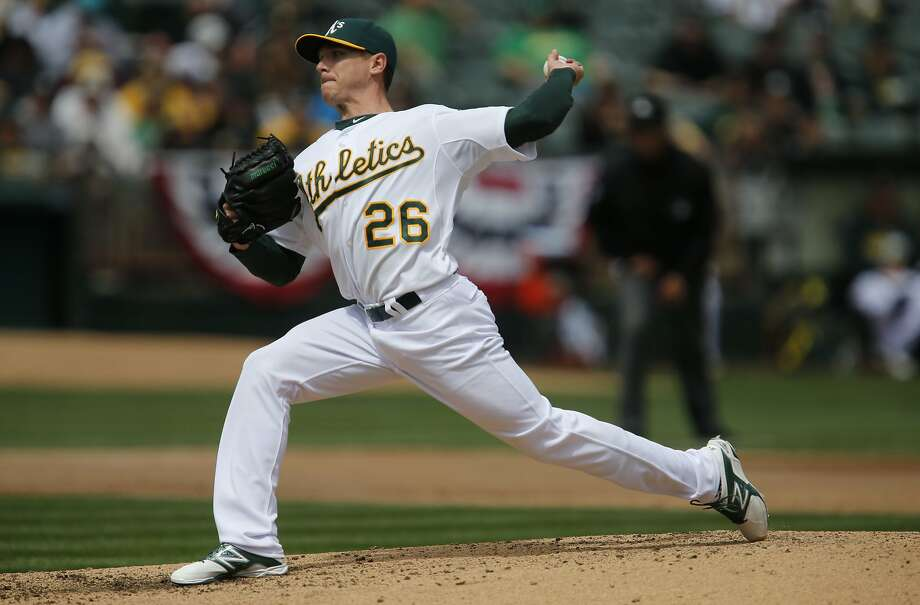 Scott Kazmir, pitching against his former team, gave up no runs, allowed three hits, walked none and struck out five in his first start for the A's. Photo: Michael Macor, The Chronicle