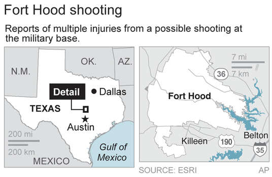 Fort Hood is located north of Killeen, Texas – about 60 miles north of Austin
