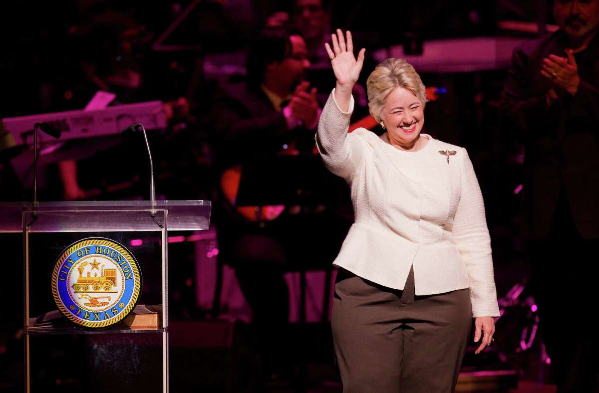 After being sworn into office for her third term, Houston Mayor Annise Parker gives her inauguration speech during the City of Houston Inauguration Ceremony for Mayor Parker, City Controller Ronald Green and the 16-member Houston City Council at Wortham Theater Center Thursday, Jan. 2, 2014, in Houston. During her inauguration speech, Parker called for a non-discrimination ordinance, improvements to infrastructure and continued economic growth. ( Johnny Hanson / Houston Chronicle )