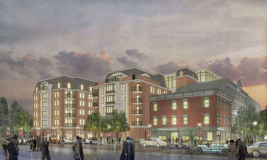 Rendering of the new 176-room Rip Van Dam hotel viewed from Washington Street in Saratoga Springs. The hotel will depend on valet parking to a 350-space parking garage being built about three blocks away. (Provident Development Group)