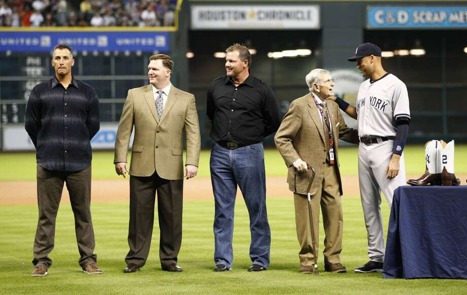Yankees shortstop Derek Jeter with Milo Hamilton, Roger Clemens, Mike Stanton and Andy Pettitte. Photo: Karen Warren, Houston Chronicle