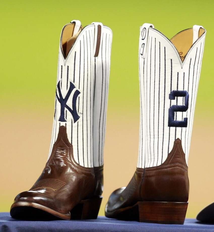 The Astros gave Derek Jeter a pair of custom boots as a retirement gift. Photo: Melissa Phillip, Houston Chronicle