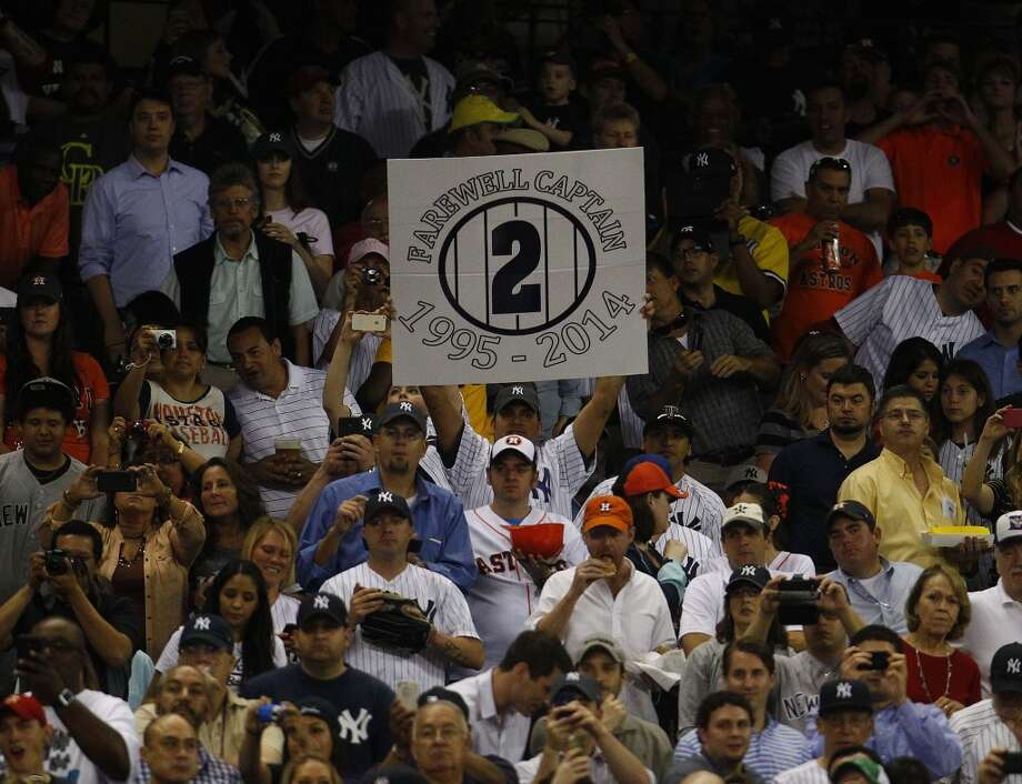 A Yankees fan shows his support for retiring shortstop Derek Jeter. Photo: Karen Warren, Houston Chronicle