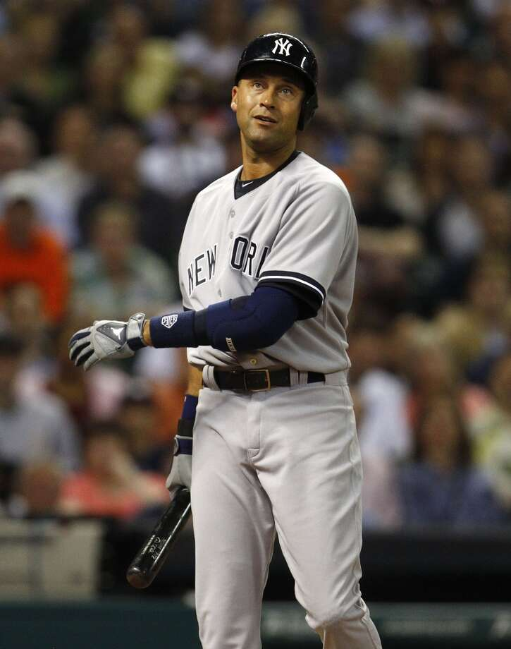 Yankees shortstop Derek Jeter during his first at-bat against the Astros. Photo: Karen Warren, Houston Chronicle