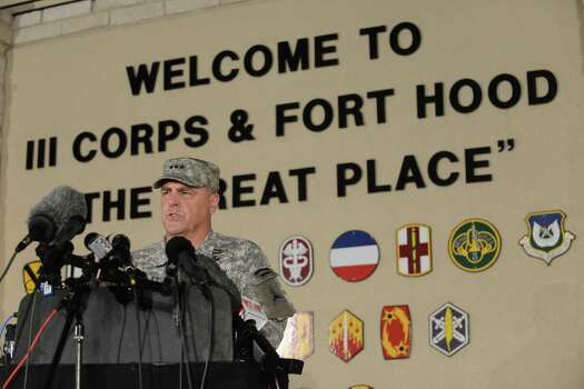 Lt. Gen. Mark Milley speaks on Wednesday night, April 2, 2014, about the shootings that happened at Fort Hood in the afternoon of the same day. The gunman killed three fellow soldiers before fatally shooting himself. Photo: Billy Calzada, San Antonio Express-News / San Antonio Express-News