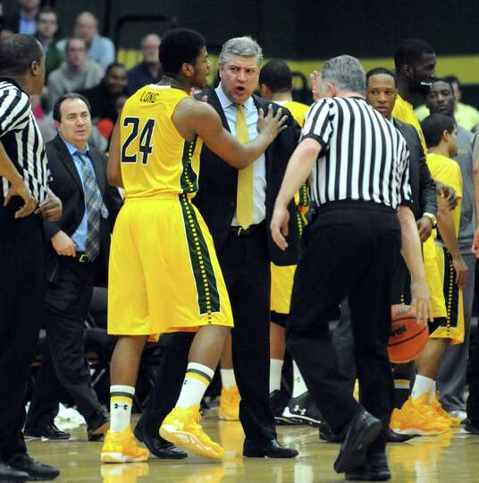 Siena head coach Jimmy Patsos argues a call during game two of the College Basketball Invitational c