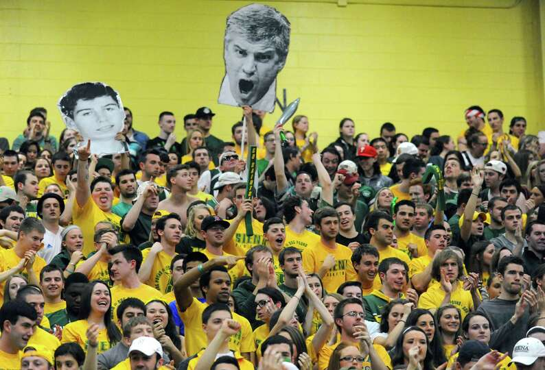 Siena students root on their team during game two of the College Basketball Invitational championshi
