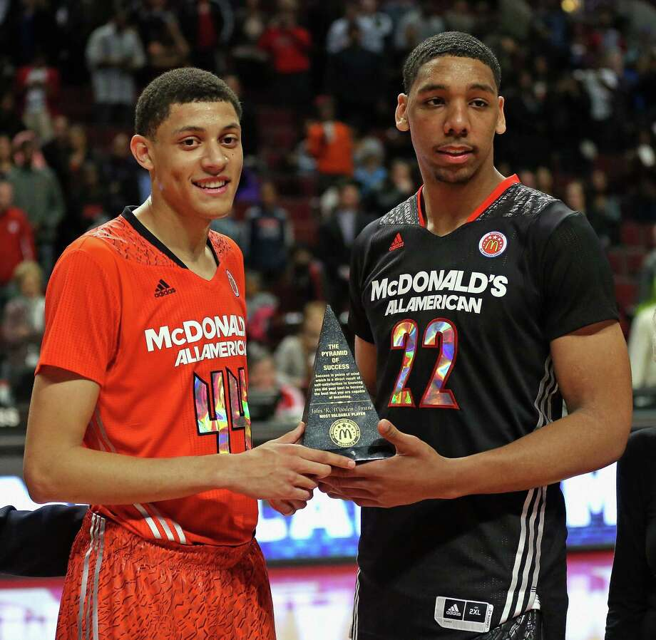 CHICAGO, IL - APRIL 2: Justin Jackson #44 of the East team and Jahlil Okafor #22 of the West team share the MVP torphy after the 2014 McDonald's All American Game at United Center on April 2, 2014 in Chicago, Illinois. The West defeated the East 105-102. Photo: Jonathan Daniel, Getty Images / 2014 Getty Images