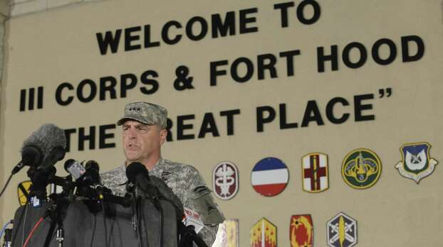Lt. Gen. Mark Milley addresses the news media. The rampage Wednesday brought back images of a deadly attack on the post in 2009, in which Maj. Nidal Hasan opened fire, killing 13. Photo: Billy Calzada / San Antonio Express-News / San Antonio Express-News