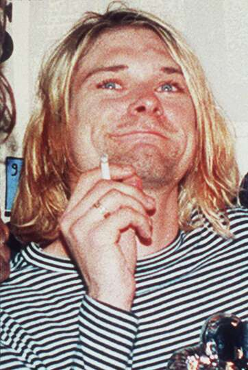 FILE - In this 1993 file photo, lead singer of Nirvana Kurt Cobain is photographed. It's been two de
