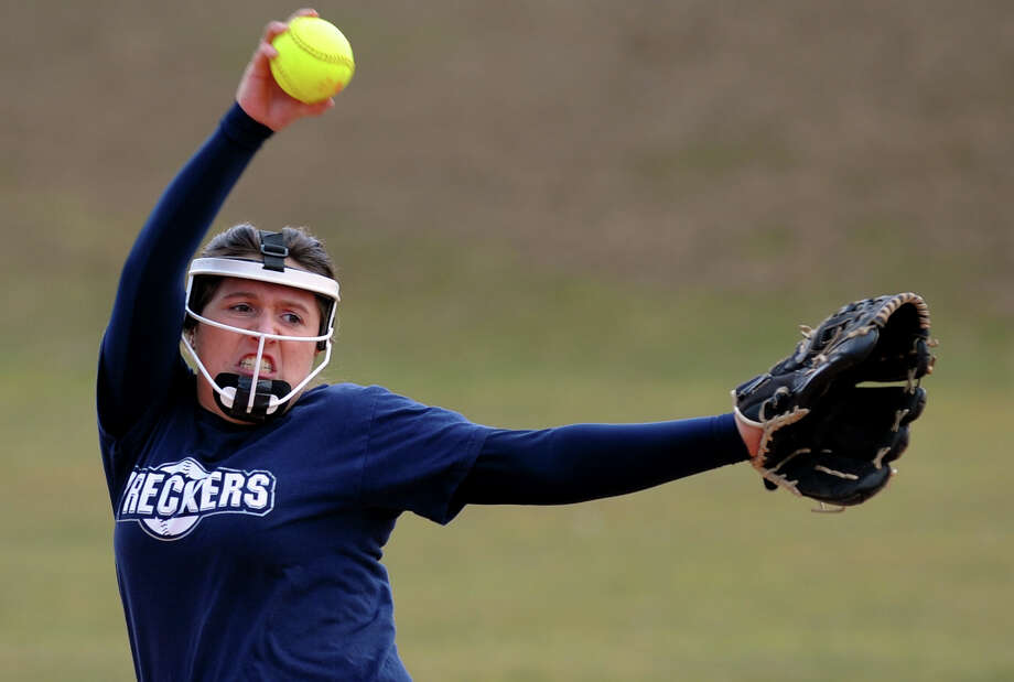 Staples' Katie Burke, during girls softball action against Westhill in Westport, Conn. on Thursday March 28, 2013. Photo: Christian Abraham / Connecticut Post