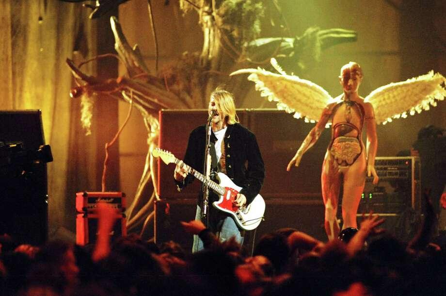 Kurt Cobain of Nirvana during MTV Live and Loud: Nirvana Performs Live in December 1993 at Pier 28 in Seattle. Photo: Jeff Kravitz, FilmMagic, Inc / FilmMagic, Inc