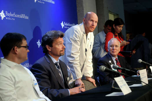 Administrators and medical staff speak at a news conference about the Ft. Hood shooting victims being treated at Scott and White Hospital in Temple, Texas  on April 3, 2014.  From left are Dr. Alexander Thompson, Dr. Stephen Sibbitt, Dr. Matthew Davis and Larry Smith. Photo: TOM REEL