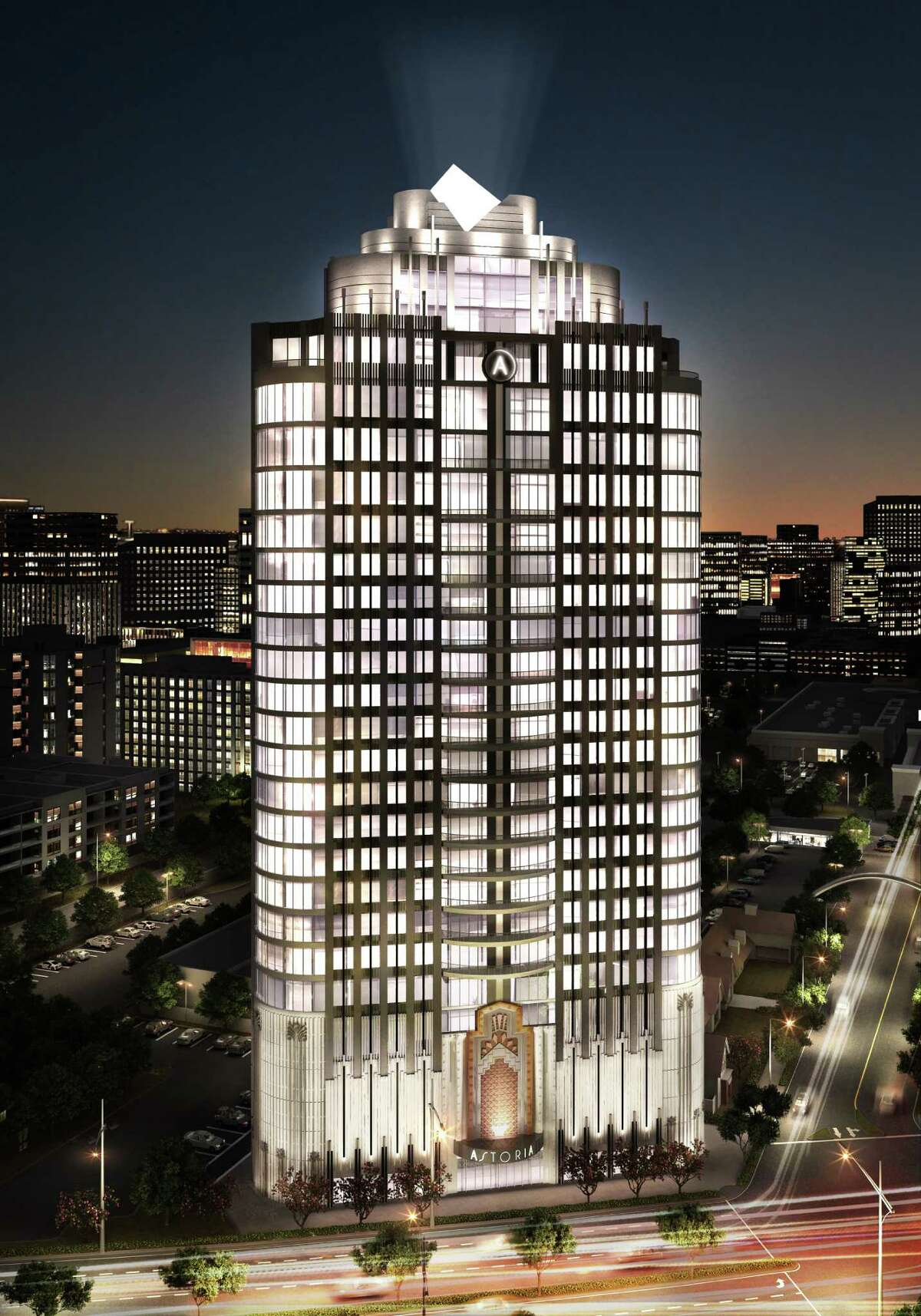 A rendering of Astoria, a condominium building under construction on Post Oak Boulevard.