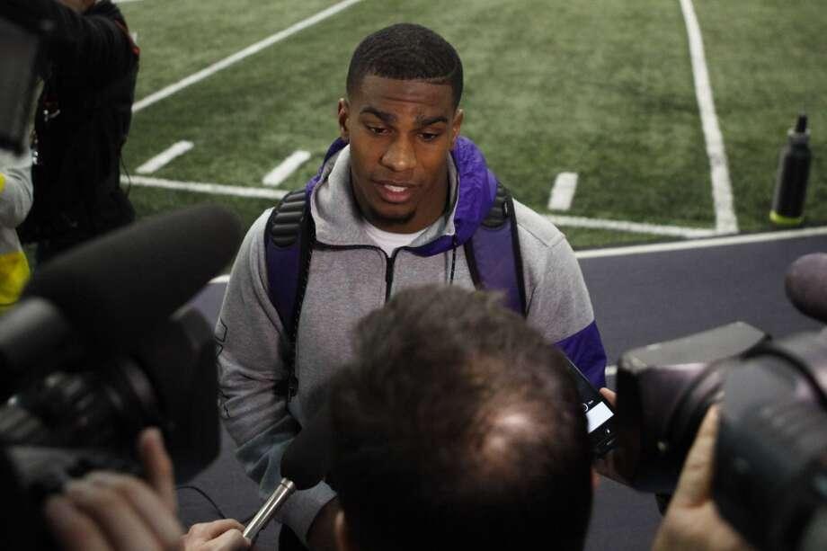 Washington running back Bishop Sankey talks with media following NFL football pro day, April 2, 2014, in Seattle. (AP Photo/Joe Nicholson) Photo: AP