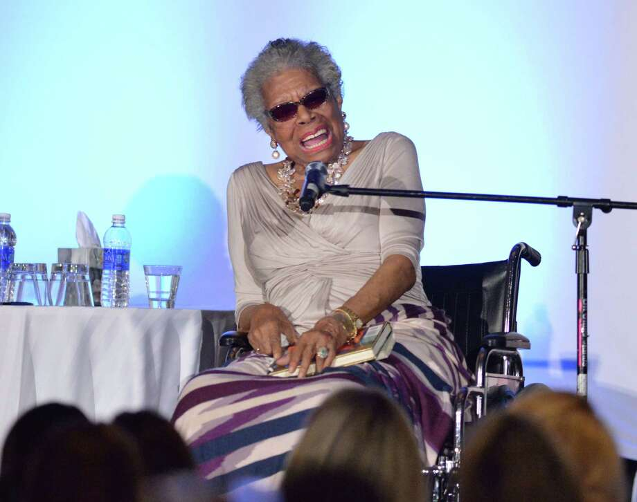 Maya Angelou, an American author and poet, speaks at the Fairfield County Community Foundation's Fund for Women and Girls luncheon at Greenwich Hyatt Regency, Thursday, April, 3, 2014. Photo: Bob Luckey / Greenwich Time