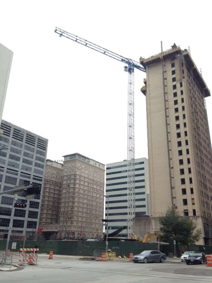 Hines building at 609 Main is planned for completion in early 2017. Photo: Katherine Feser, Houston Chronicle