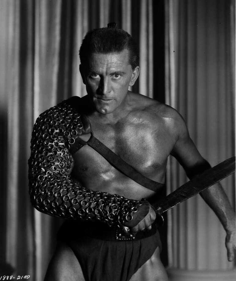Douglas as the slave revolt leader in the American epic historical drama, 'Spartacus' directed by Stanley Kubrick.Born: December 9, 1916 Photo: None