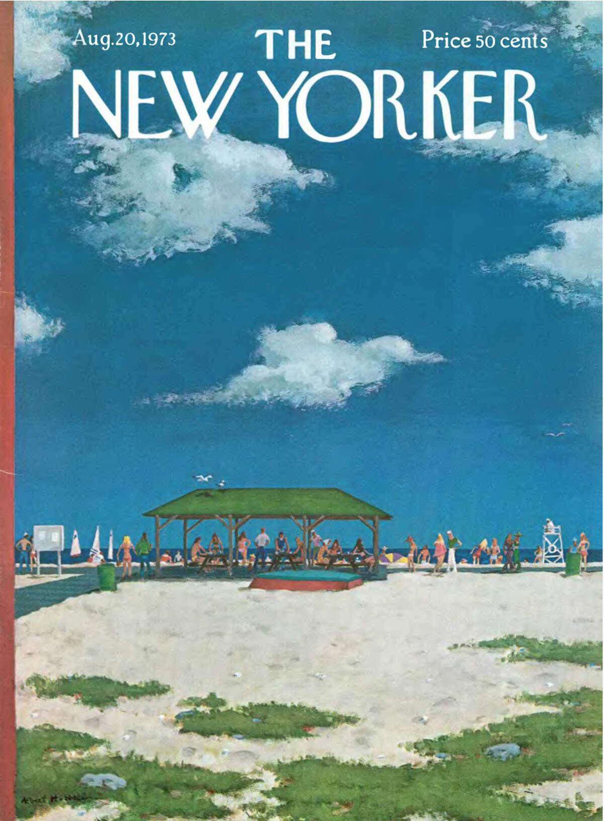 Albert Hubbell's cover of the New Yorker, August 1973, features Westport's Compo Beach. An exhibit of magazine covers at the Westport Historical Society has been extended through July 5.
