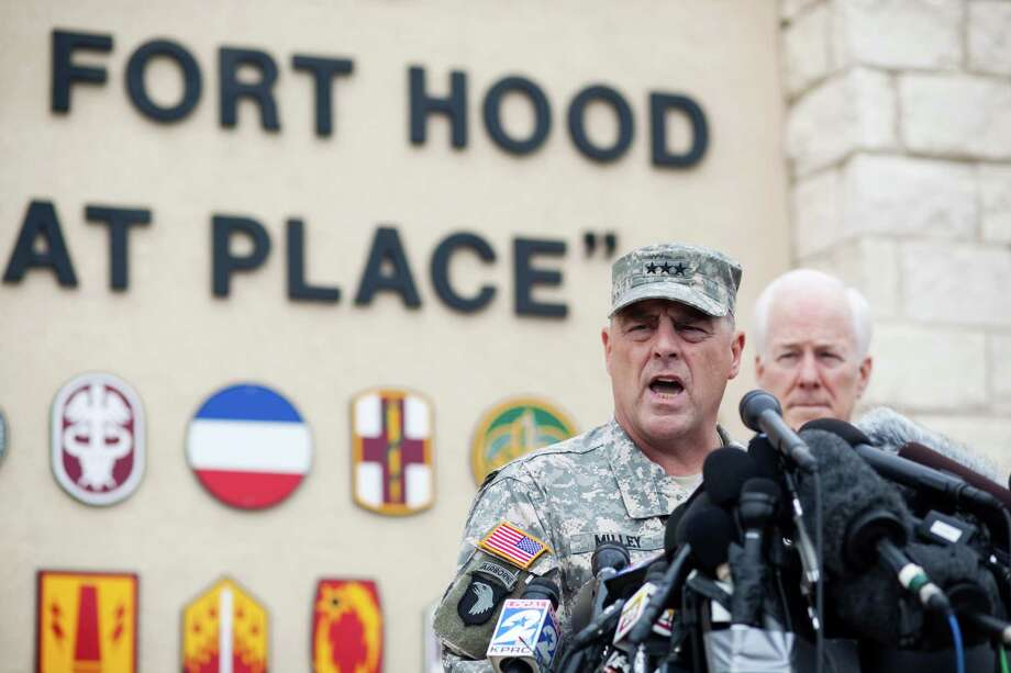 FORT HOOD, TX - APRIL 03:  General Mark Milley, III Corps and Fort Hood Commanding General, speaks to press during a press conference on April 3, 2014 in Fort Hood, Texas. The investigation continues into why Lopez did the shooting on the base. (Photo by Drew Anthony Smith/Getty Images) Photo: Drew Anthony Smith, Stringer / 2014 Getty Images