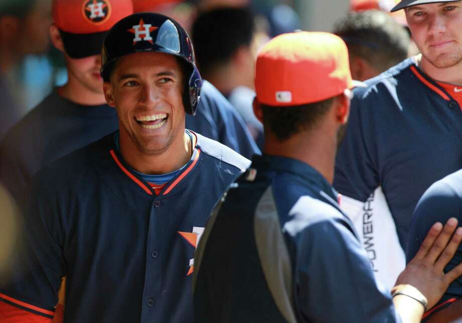 Astros outfield prospect George Springer hit .250 during spring training and started the season with Class AAA Oklahoma City on Thursday night. Photo: Melissa Phillip, Staff / © 2014  Houston Chronicle