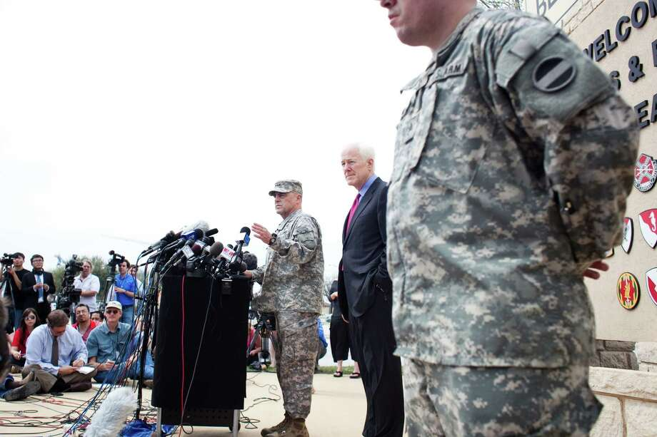 FORT HOOD, TX - APRIL 03:  General Mark Milley, III Corps and Fort Hood Commanding General, speaks to press during a press conference on April 3, 2014 in Fort Hood, Texas. The investigation continues into why Lopez did the shooting on the base. (Photo by Drew Anthony Smith/Getty Images) ORG XMIT: 482795043 Photo: Drew Anthony Smith / 2014 Getty Images