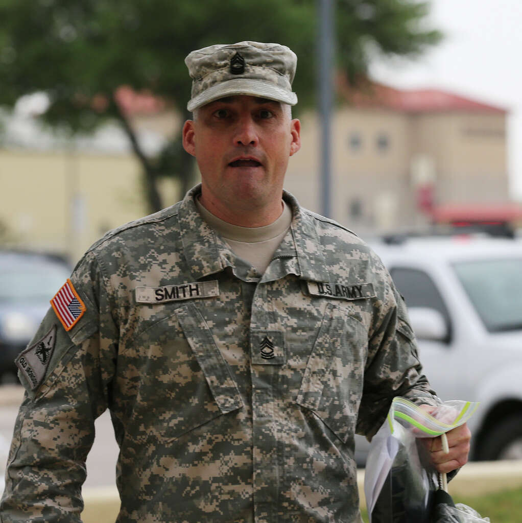Tom kennedy us army claims service - U S Army First Sgt Richard Smith Arrives For His Trial At Lackland Air Force Base