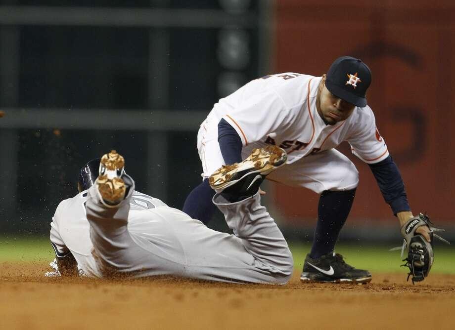 Yangervis Solarte reaches second base as Astros second baseman Jose Altuve covers. Photo: Karen Warren, Houston Chronicle