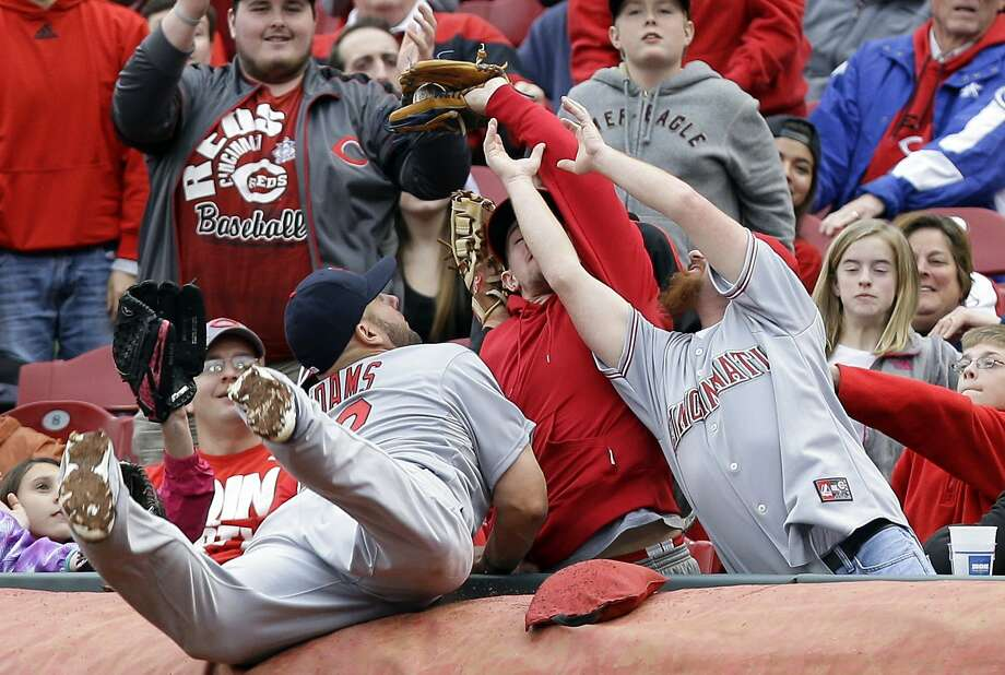 St. Louis Cardinals first baseman Matt Adams falls into the stands while trying to catch a foul ball hit by Cincinnati Reds' Chris Heisey that was caught by a fan in the third inning of a baseball game on Thursday, April 3, 2014, in Cincinnati. (AP Photo/Al Behrman) Photo: Al Behrman, Associated Press