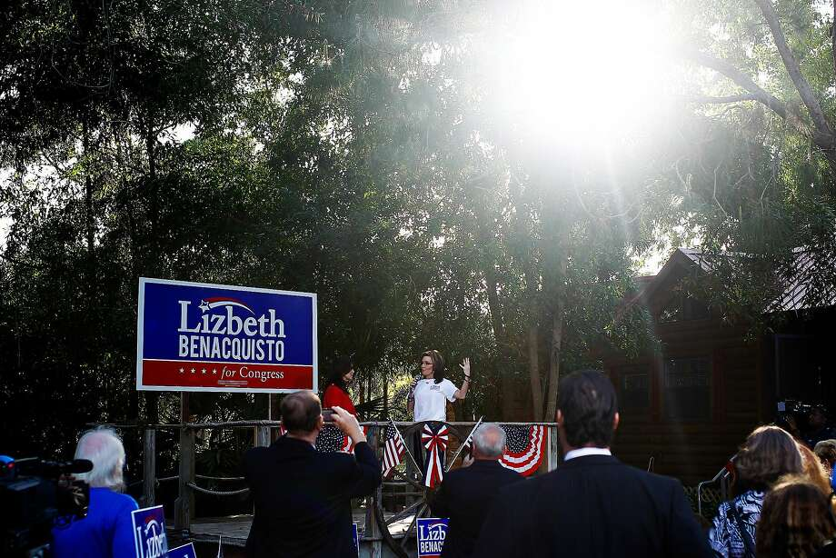 Former Alaska gov. Sarah Palin addresses the crowd endorsing state Sen. Lizbeth Benacquisto at her private fundraiser in East Naples with  in East Naples on Thursday April 3, 2014. (AP Photo/Naples Daily News, Scott McIntyre) Photo: Scott McIntyre, Associated Press