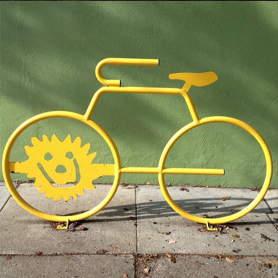 """Peter P., or @peter_sf, writes that he took this photo """"outside of The Yellow Sun School...on the corner of Grove and Baker...I love the colors in this photos. The bright lemony yellow against the avocado green looks so fun."""" Fun indeed!"""