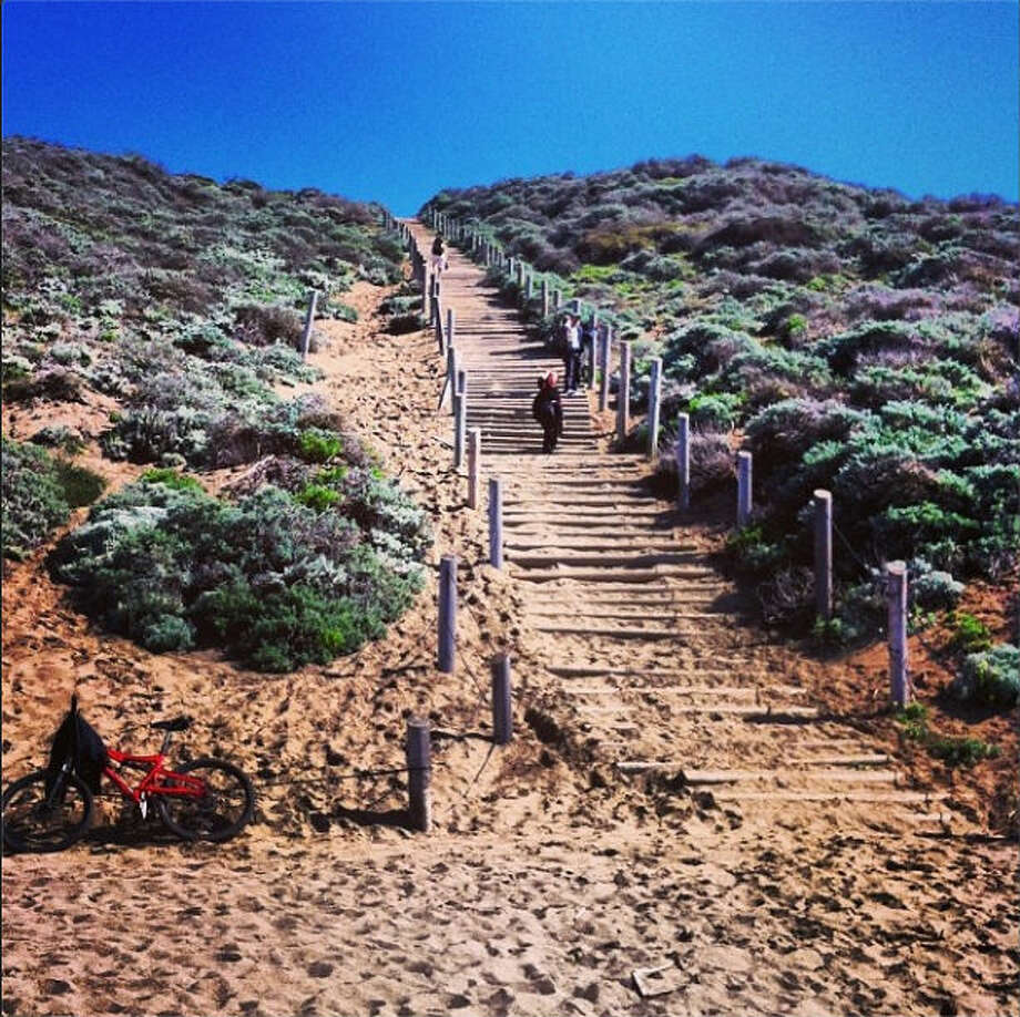 Denny C., or @dennyclark103, took this photo of the Sand Ladder that leads directly to Baker Beach.