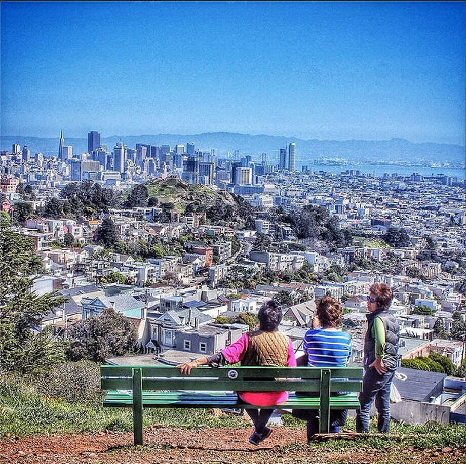 More sunny days mean more urban outings. Tank Hill in Twin Peaks is a oft-forgotten gem, where you can get a good view of the city, as evidenced by this photo from Nixon L., or @nixpixl.