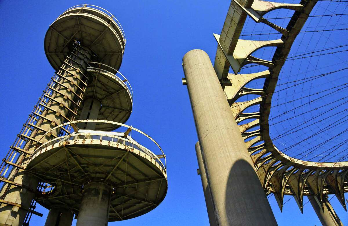 Space-age towers, topped by flying-saucer-like platforms, and a pavilion of pillars once called the