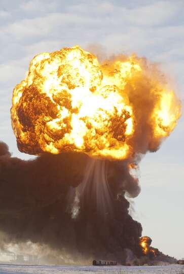 A massive fireball from an exploding train car rises into the air just west of Casselton, ND in Dece