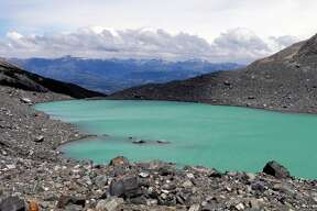 A turquoise lake fed by glaciers rests atop Cerro Castillo in Northern Patagonia in this January 2014 photo