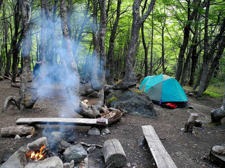 Our campsite in a forest near the top of Cerro Castillo. Photo: Brian Chasnoff, San Antonio Express-News