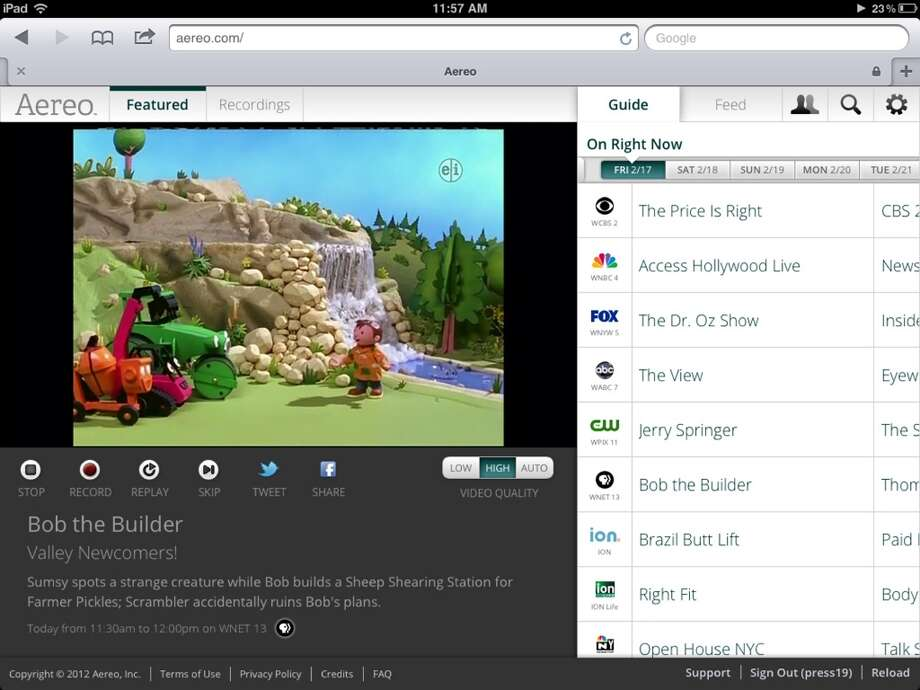 This image provided by Aereo shows a screenshot from the iPad with Aereo.com streaming  Bob the Builder  on New York s PBS station, WNET 13. Photo: AP