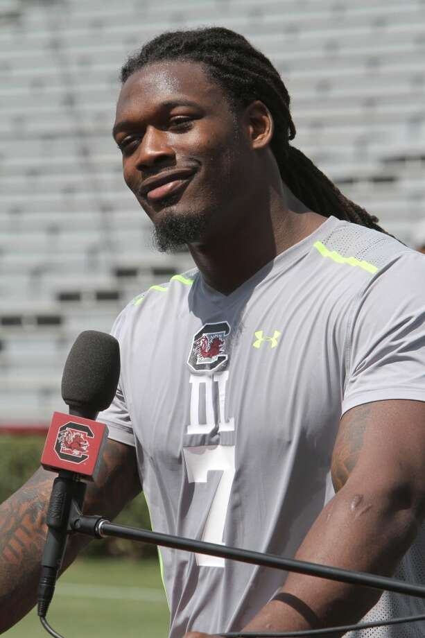 6. Clowney's a beast. He's also sometimes a goofball. The freakishly talented defensive end spent the first part of his pro day messing around, then toyed with the media at the start of his press conference. Photo: Mary Ann Chastain, Associated Press