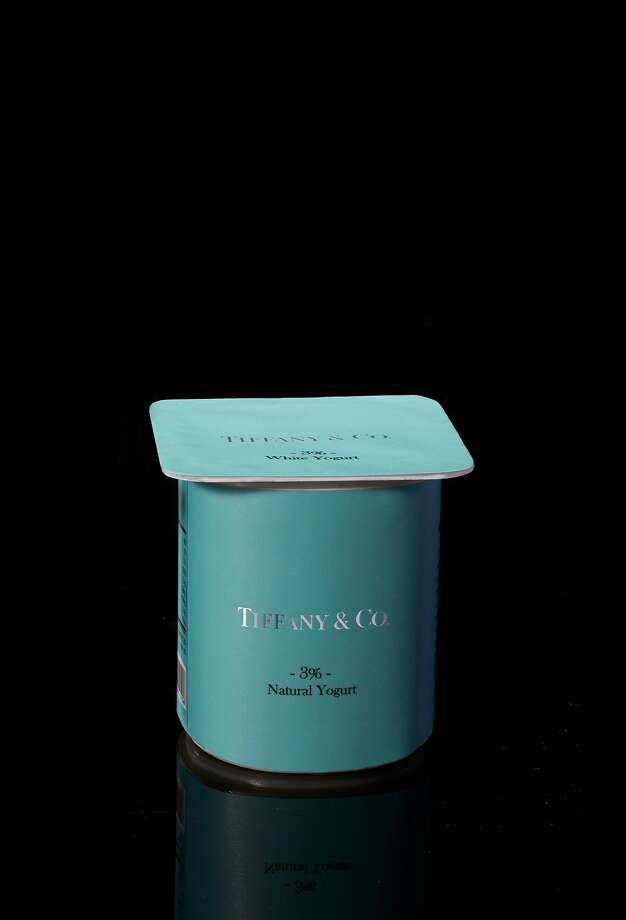"Peddy Mergui created ""Yogurt,"" a container branded with Tiffany & Co. and created with the jeweler's iconic blue hue. Photo: Museum Of Craft And Design"