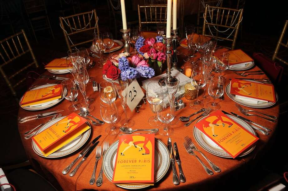 One of the colorful tables at the SPA's Forever Paris Gala at the Wortham Theater Saturday March 29, 2014.(Dave Rossman photo) Photo: Dave Rossman, For The Houston Chronicle
