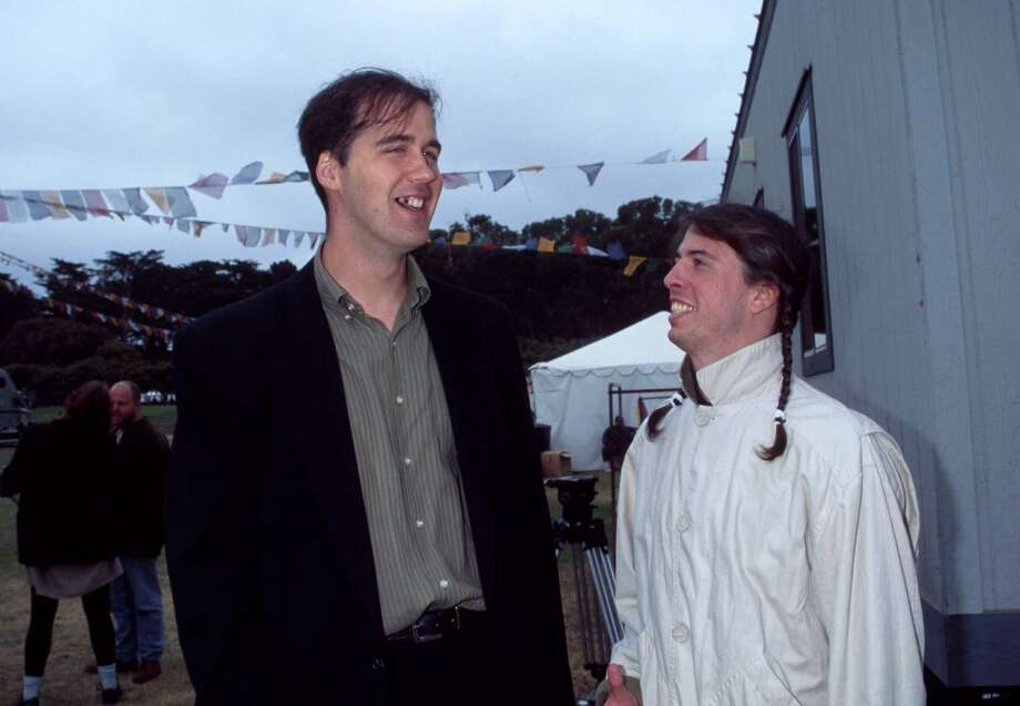Krist Novoselic and Dave Grohl of Nirvana in New York, N.Y. in an undated photo. Photo: KMazur, Getty / WireImage